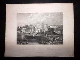 After Grindlay 1846 Antique Print. The British Residency at Hyderabad, India